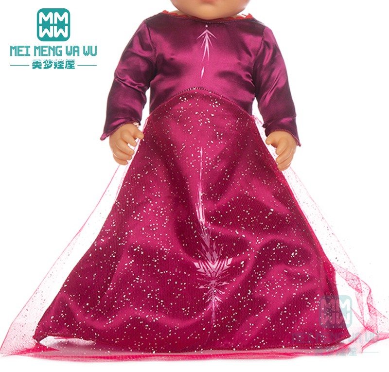 Clothes For Doll Fit 43cm Baby Toy New Born Doll And 45cm American Doll Snow Queen Princess Dress