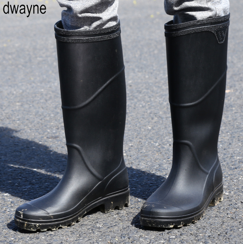 Rain Boots Men Bot Winter Fishing Boots Work Antiskid Rubber Shoes Warm Galoshes Waterproof Shoes Rain Shoes Snow Boots 2019