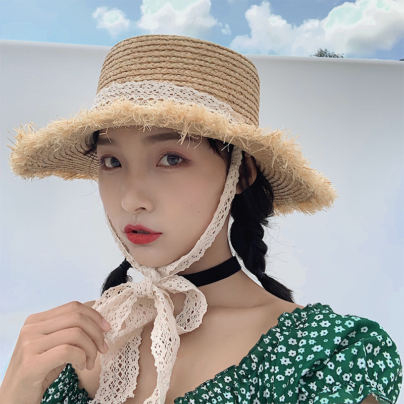 Newest Women Handmade Straw Summer Holiday Trimming Raffia  Hat Sun Cap Adult Casual Lace Ribbon Beach Flat Bowler Hat Gorros