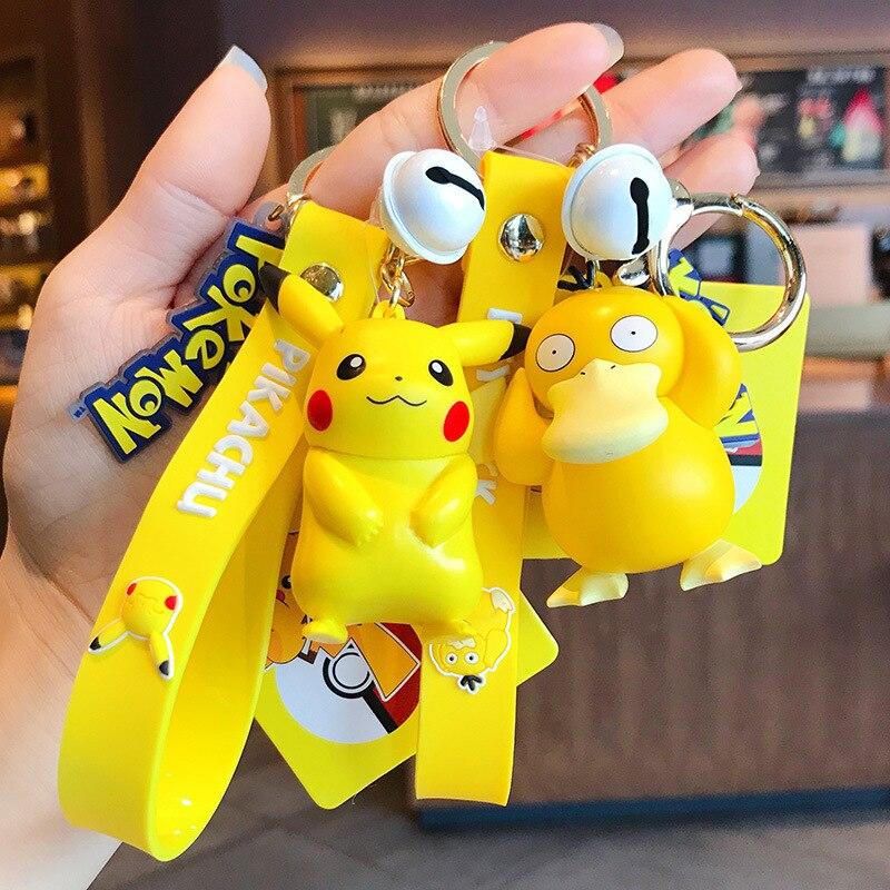 Pocket Pikachu & Bulbasaur & Squirtle & Charmander Psyduck Jigglypuff Keychain Pvc Figure Toys