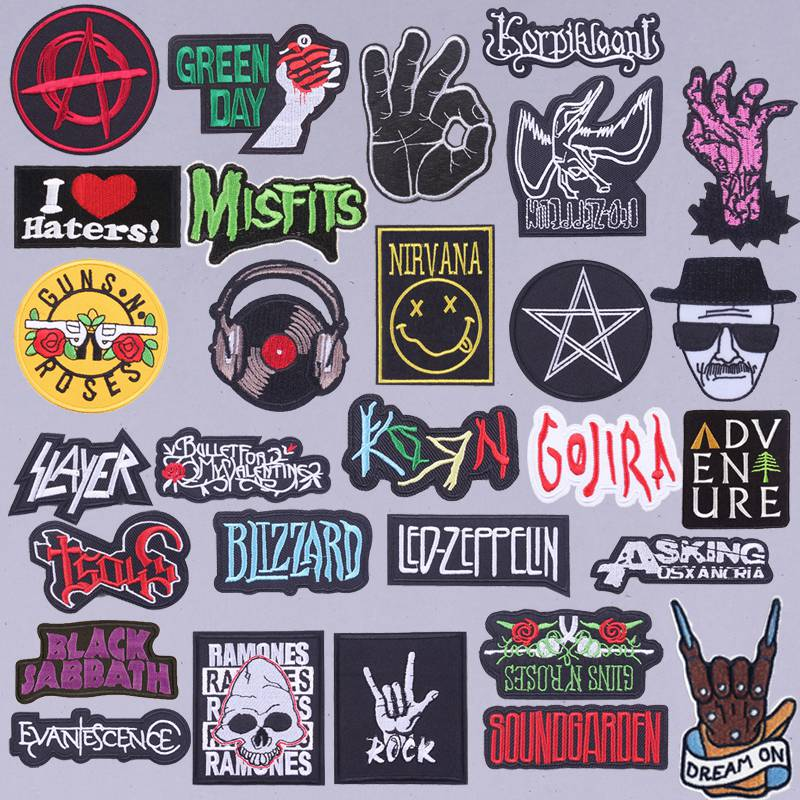 Pulaqi New rock stripes in patches DIY for clothing Punk Patch nirvana Embroidery patch Band sticker wholesale H