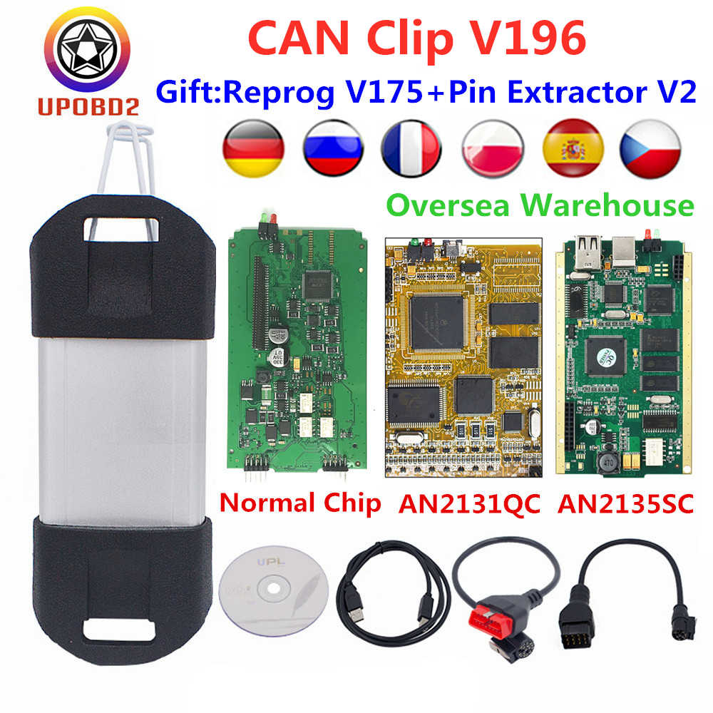 Cyperss AN2131QC AN2135SC Voor Renault Kan Clip V196 + Reprog V175 + Pin Extractor Diagnostic Interface Goud Pcb Voor Auto 'S 1998-2019