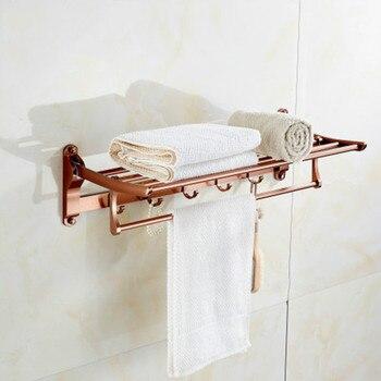 Bathroom Towel Racks Foldable Towel Holder Towel Bars Wall Mounted 60cm Aluminum Towel Shelf With Hooks Golden/Rose gold