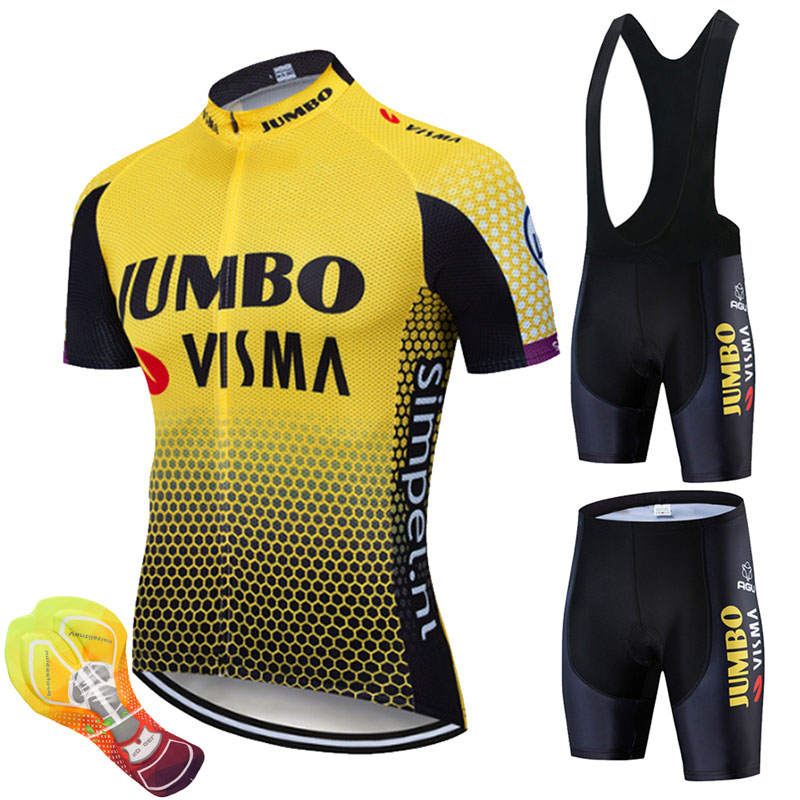 2019 Team Jumbo Cycling Clothing Bike Jersey Quick Dry Mens Bicycle Clothing Summer Team Cycling Jerseys 16D Gel Bike Shorts Set