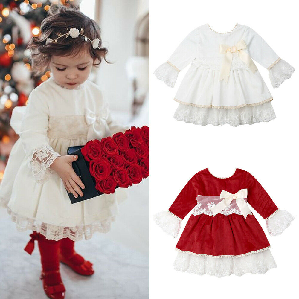 <font><b>Christmas</b></font> <font><b>Girls</b></font> <font><b>Red</b></font> <font><b>Dress</b></font> Princess Ruffles <font><b>Long</b></font> <font><b>Sleeve</b></font> Lace Tutu Party <font><b>Dresses</b></font> For <font><b>Girls</b></font> New Year Costumes 1-6Years image