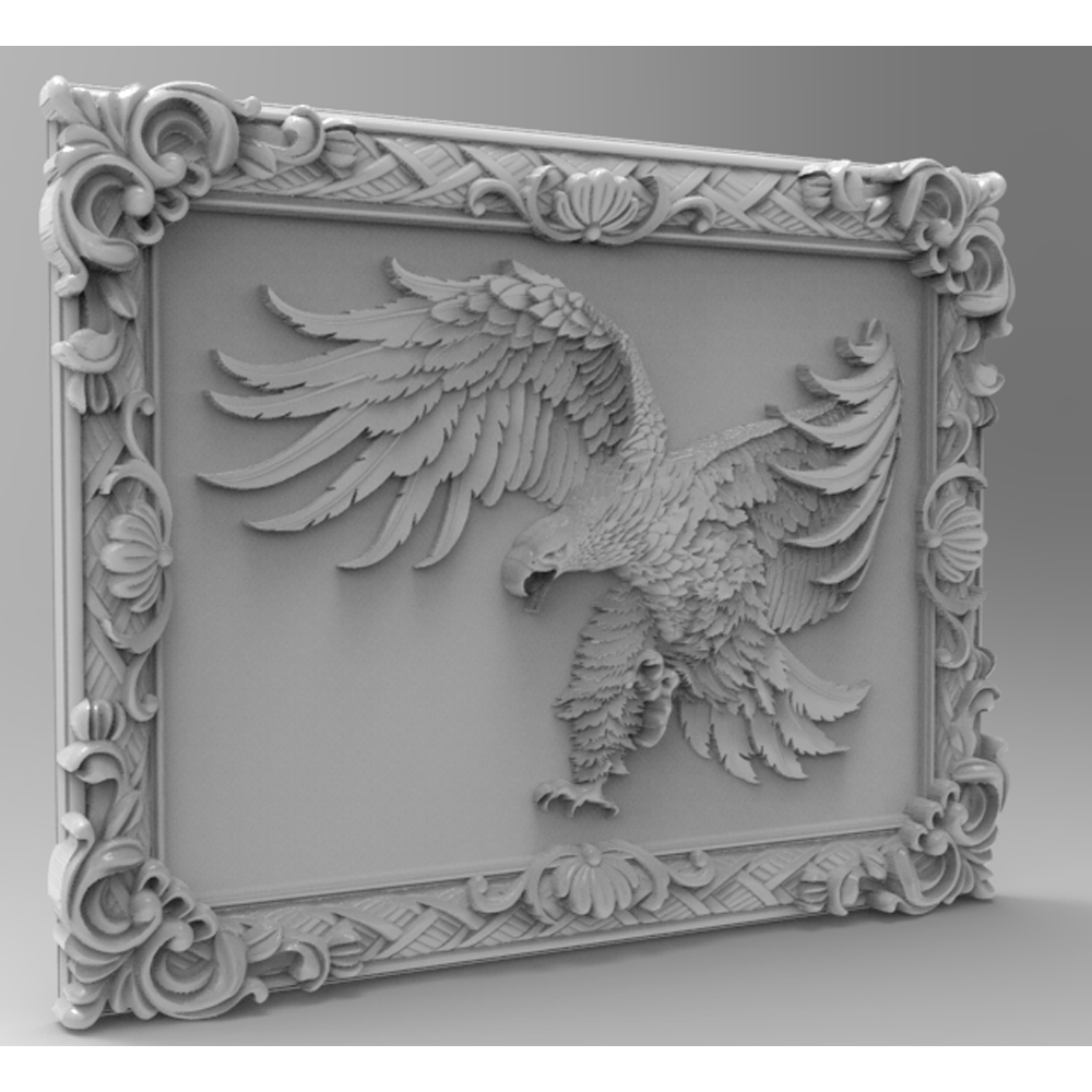 3d STL Model File For CNC Router Milling Carving Machine Relief Artcam Aspire Frame With Eagle