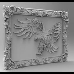 3d STL Modell datei für CNC Router Fräsen Carving Maschine Relief Artcam Aspire rahmen mit adler