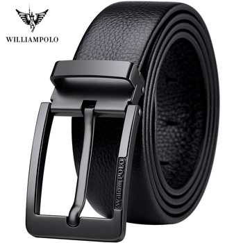 WilliamPolo Men's Cow Genuine leather luxury strap male belts for men fashion classice vintage pin buckle men belt High Quality leather belt men high quality cow genuine leather waistband luxury strap for male belts fashion alloy buckle belt men