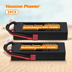 2packs RC Battery 7.4V 6200mah 2s Lipo 50C Hard Case with TRX Plug for Traxxa 1/10 1/8 Scale Buggy Car Truck Boat Heli Drone
