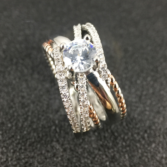 925 Silver AAA Zircon Luxury CUrve Intersection Female Crystal Round Stone Ring Engagement Ring Vintage Party Rings For Women 3