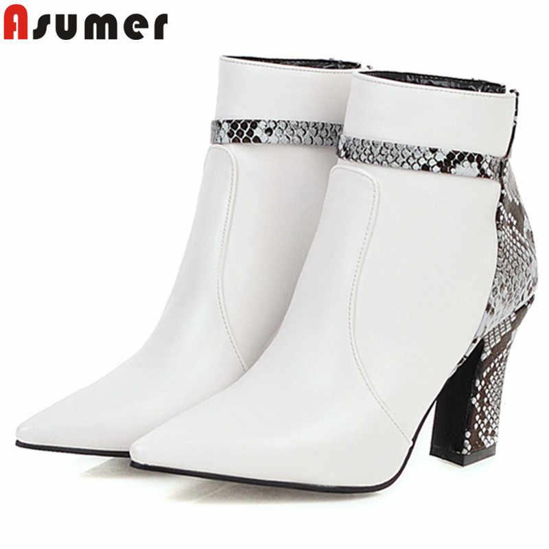 ASUMER artı boyutu 34-48 moda yarım çizmeler kadınlar için sivri burun zip yüksek topuklu balo çizmeler karışık renkler sonbahar kışlık botlar