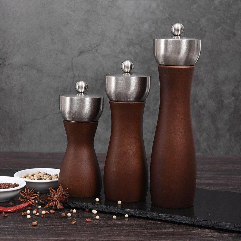 Wood Salt and Pepper Grinder Mill Adjustable Grinder Stainless Steel Manual Spice Grinder Pepper Shaker Kitchen Tools 5/6/8 inch