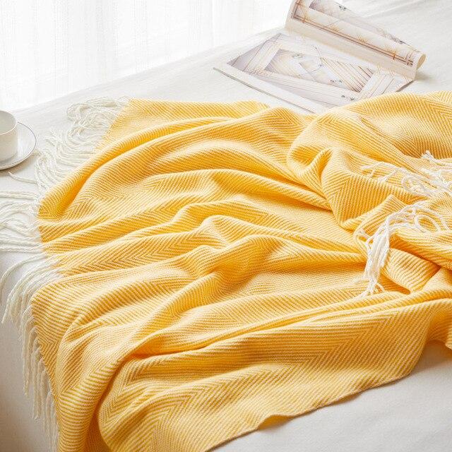 Couverture à chevrons tricotée à la main Plaids et Couvertures Cocooning.net