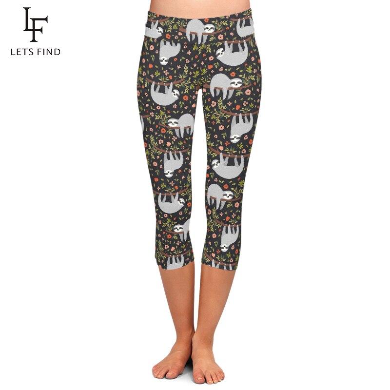 LETSFIND Summer New Women Pants Funny Sloth and Flowers Print Capri Leggings High Waist Elastic Slim Mid-Calf Leggings Plus Size