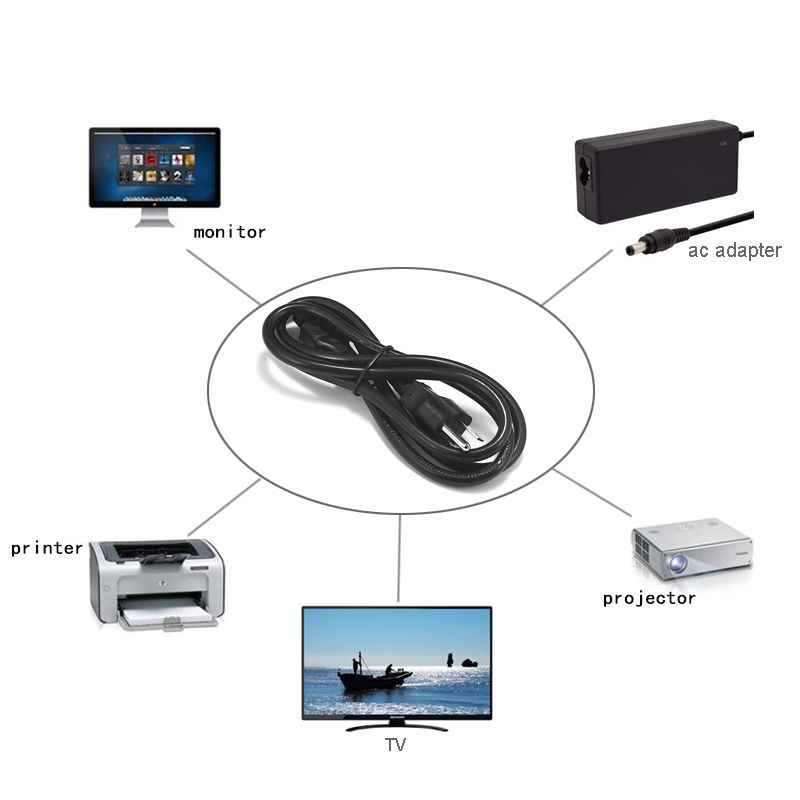 Przedłużacz do notebooka 1.2m 1.5m 18AWG USA USA kabel zasilający IEC C5 Mickey Mouse do laptopa HP Dell Lenovo Sony Asus