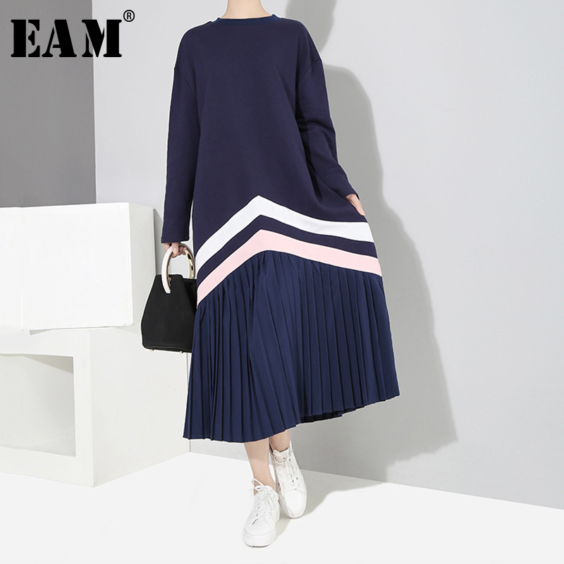 [EAM] Women Blue Striped Split Pleated Midi Dress New Round Neck Long Sleeve Loose Fit Fashion Tide Spring Autumn 2020 1S707