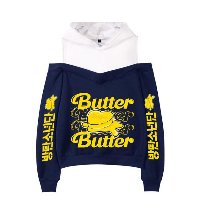 BTS BUTTER OFF SHOULDER HOODIE (4 VARIAN)