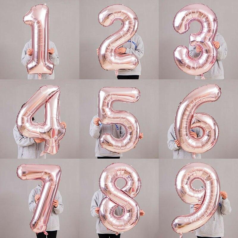 Фольгированные воздушные шары в виде цифр, 32 дюйма, 40 дюймов, розовое золото, 0, 1, 2, 3, 4, 5, 6, 7, 8, 9, для свадьбы, мероприятия, Рождества, Хэллоуина