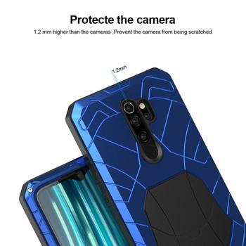 For Xiaomi Mi Redmi Note 8 Phone Case Hard Aluminum Metal Tempered Glass Screen Protector Heavy Duty Cover for Redmi Note 8 Pro 3
