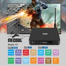 Mecoolを新tvボックスK7 Andriod9.0 tvbox DVB S2 DVB T2/t DVB C 4 ギガバイト + 64 ギガバイトamlogic S905X2 bluetooth 4.1 2.4/5 3g wifiスマートセットトップボックス