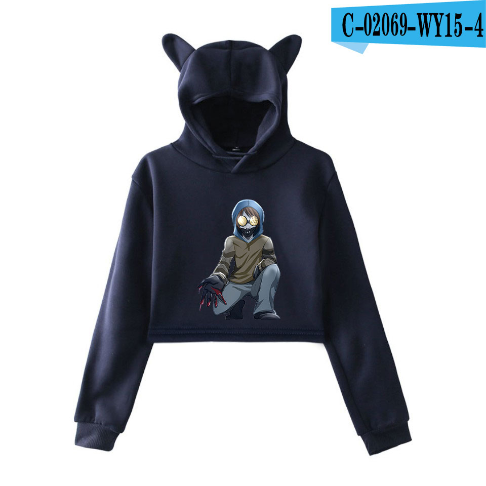 unique horror atmosphere of black humor creepypasta  print fashion trend Cat ears Top Women Hoodies Sweatshirt Sexy clothes 25