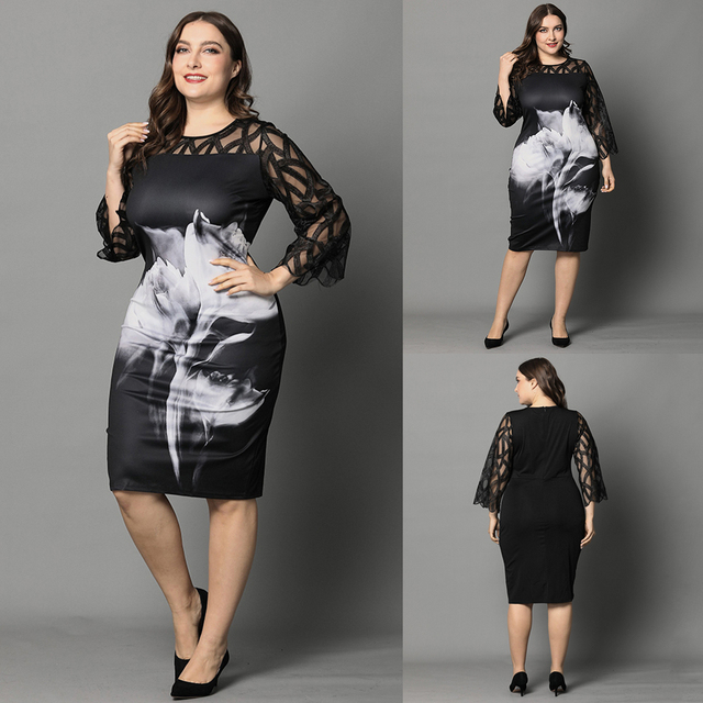 L-6XL Women Plus Size Dress Elegant Ladies Black Sheer Lace Sleeve Dress 2020 Chic Casual Printed Lace Evening Party Dresses D30 2