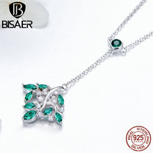 BISAER 925 Sterling Silver Y-shape Pendant Necklace for Women Green Cubic Zirconia Tree of Life Necklaces Fashion Jewelry GAN036 eudora 925 sterling silver tree of life necklace cloud tree pendant fortitude design jewelry for women happy birthday gift d449