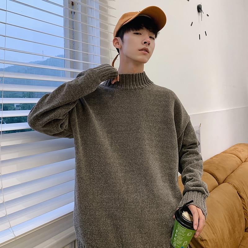 Korean Men Turtleneck Sweater Winter Fashion Knitted Turtleneck Men Winter Turtleneck Sweater Male Pullover 2019 Manteau Homme