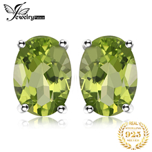 Real Pure 925 Sterling Silver Genuine 1.6ct Natural Green Peridot Stud Earrings For Women Trendy Charms Silver Earrings Jewelry natural turquoise and peridot handmade unique 925 sterling silver earrings 1 5 x4688