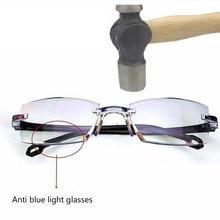 Gafas de lectura sin montura ultraligeras, lentes de lectura sin montura, antirradiación de luz azul, lector de presbicia Bifocal + 1,0 a + 4,0