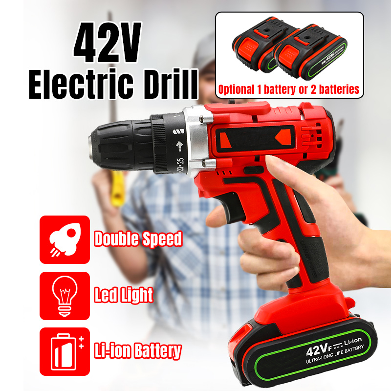 Electric Drill Cordless Screwdriver 42V 110 240V Lithium Battery LED Light Mini DIY Wireless Power Driver 2 Speed Power Tools|Electric Drills| |  - title=