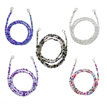 10Pcs Face Mask Holder Lanyard Eyeglass Anti-Lost Chain Colorful Beaded Necklace Strap with Clips Around Neck Retainer