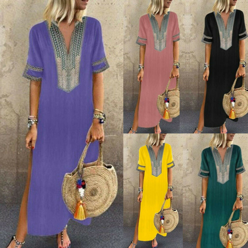 Женское платье в пол платье Бохо Макси платье-туника Повседневный пляжный Сарафан Плюс Размер