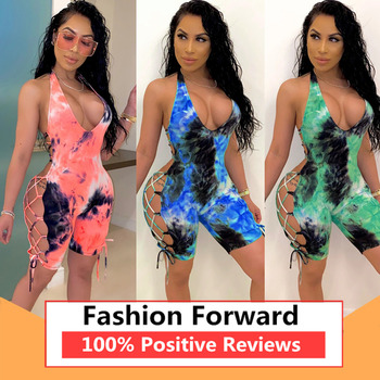 Sexy Women Deep V-neck Jumpsuit Sleeveless Halter Backless Hollow Out Playsuit Rompers Sports Floral Print Lace-up Jumpsuit white v neck hollow out playsuit