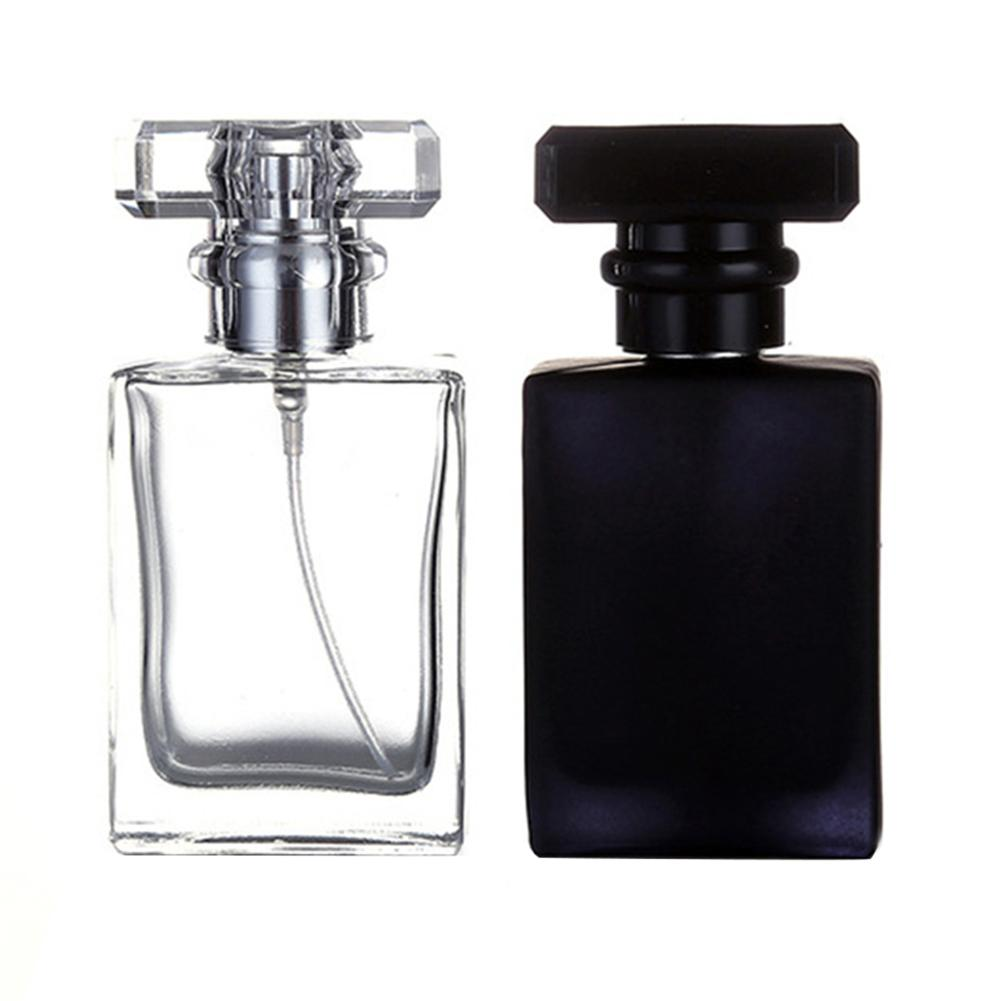 Hot 1Pcs30ml50ml High Quality Glass Perfume Bottle Atomizer Perfume Bottle Transparent Black Spray Bottle Crystal Transparent