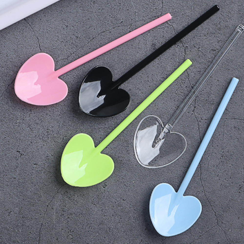 100pcs/set Disposable Colorful Dessert Yogurt Pudding Spoons Food Grade Plastic Tableware Shops Birthday Party Supplies