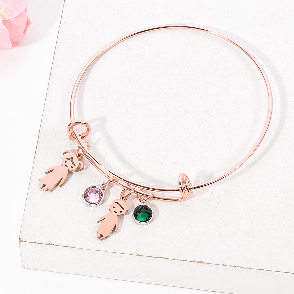 Mother's day gift bracelet with kids charms
