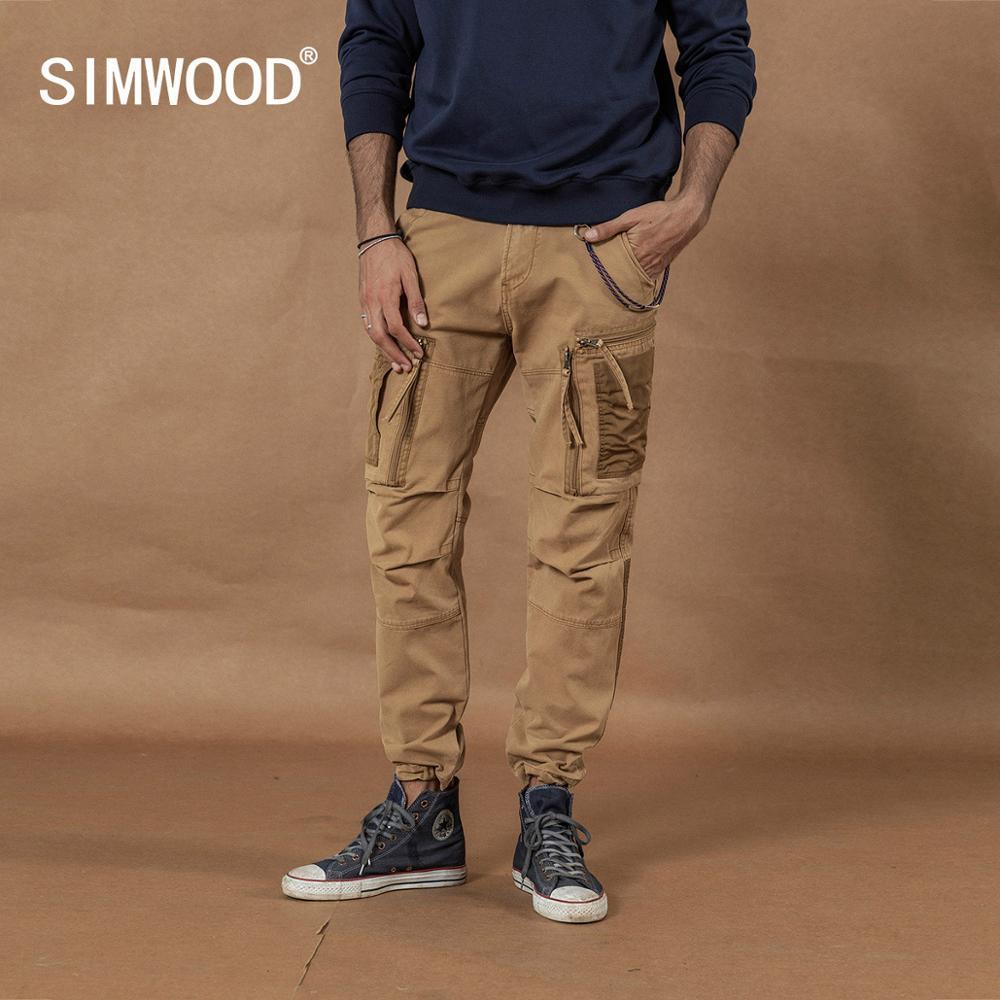 SIMWOOD 2019 Multi-Pocket Combat Cargo Pants Patchwork Contrast Color Hip Hop Streetwear Trousers Plus Size  Tactical Pants