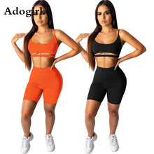 купить Adogirl Women Solid Tank Top + Above Knee Pants Shorts Suit Two Piece Set Fashion Club Party Night Sporty Tracksuit Outfits дешево