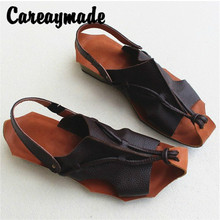 Careaymade-Summer new genuine Leather retro leisure women's sandals,cowhide handmade cotton and hemp artistic sandals
