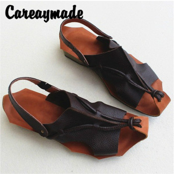 Careaymade-Summer new genuine Leather retro leisure womens sandals,cowhide handmade cotton and hemp artistic sandals