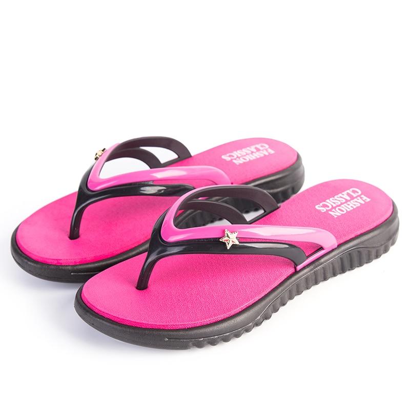 Womens Summer Slip-on Shoes Anti-slip Hard-wearing Fashion Leisure Slippers Beach Swimming Walking Indoor T-tied Flip Flops 3