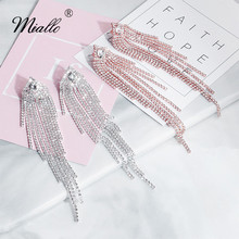 Miallo Fashion Austrian Crystal Thin Chain Earring Rhinestone Granule Wedding Women Bridal Drop Earrings