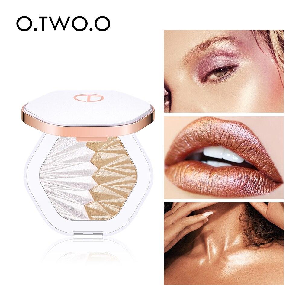 O. Dos. O paleta de polvo resaltador de concha perla blanco rosa púrpura cara brillante iluminador Contorno de maquillaje brillante 5 colores