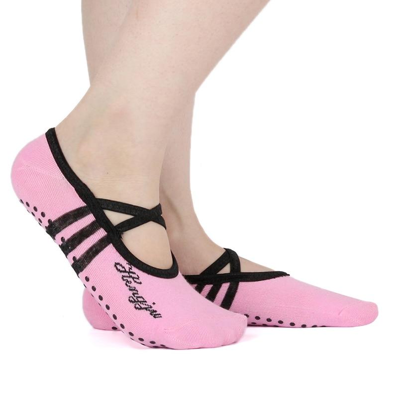 Women Cotton Non Slip Yoga Sock For Woman Breathable Professional Socks Ladies Pilates Ballet Dance Bandage Gym Foot Scoken
