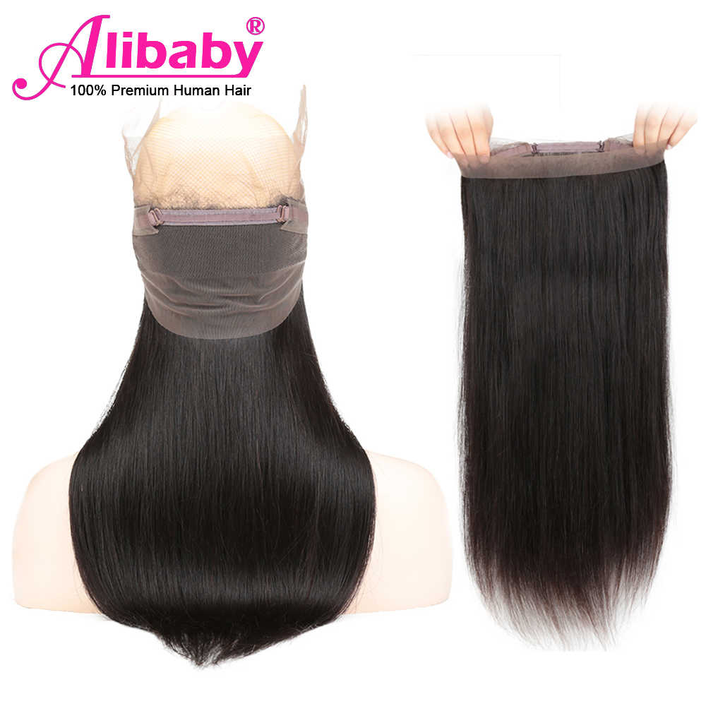 Alibaby 360 Lace Frontal Closure Pre Plucked Human Hair Remy Brazilian Straight 360 Frontal Closure Free Part 8-20 Inch FreeShip