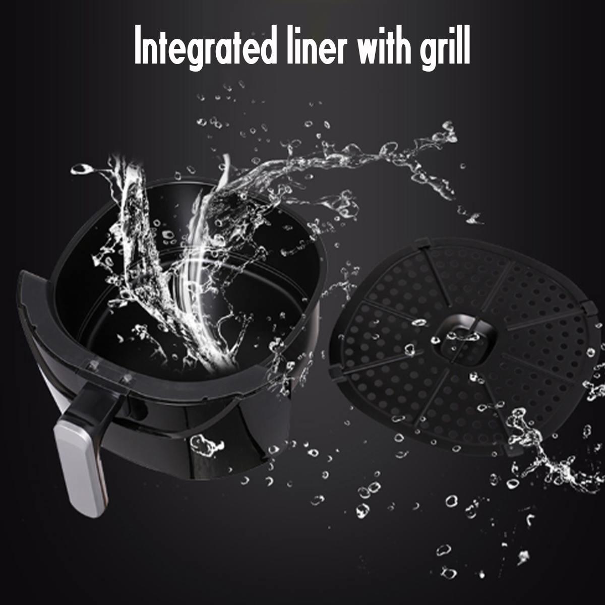 Friteuse à Air friteuse électrique 1500W 220V 5.5L 360 ° haute vitesse Circulation d'air chaud multifonction cuisinière four faible en gras santé Pan - 5