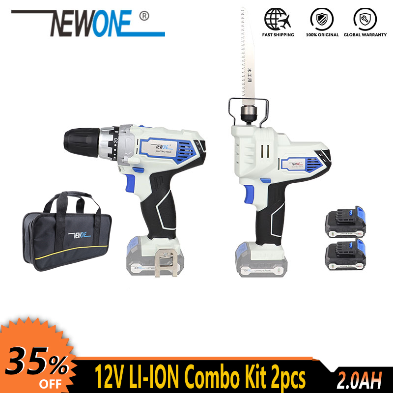 NEWONE <font><b>12V</b></font> Cordless Electric Lithium Reciprocating Saw and Drill Screwdriver Power tool combo kit with battery for Cutting screw image