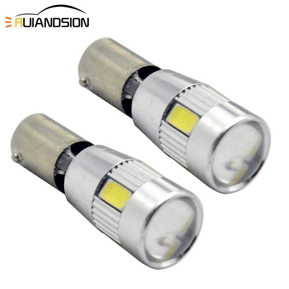 2xWhite BA9S T4W BAX9S 64132 H6W BAY9S H21W Error Free 6-5630SMD LED Bulbs For Parking Position Lights 150lm DC12-14V