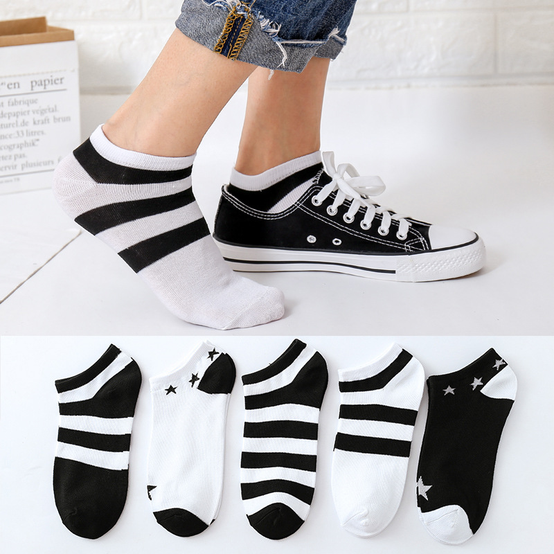 1Pair Women's Socks Short Female Hosiery Low Cut Ankle Socks For Women Ladies  black and white style Stripe Socks 2019 New